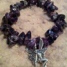 """Bishop"" Bracelet by Dizzy Girl Designs, Purple Amethyst with silver Angel charm"