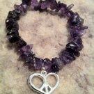 """Bishop"" Bracelet by Dizzy Girl Designs, Purple Amethyst with silver Heart/Peace charm"