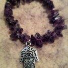 """Bishop"" Bracelet by Dizzy Girl Designs, Purple Amethyst with silver Hamsa Handcharm"
