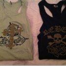 Rare Rock n Roll Women's Ribbed Tanks with Skull/Crossbones & Rebel Logo