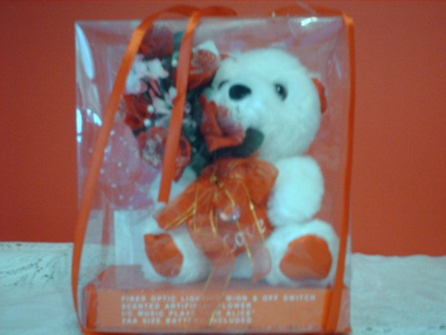 "Musical Fiber Optic Bear with Red ""Love"" Envelope"