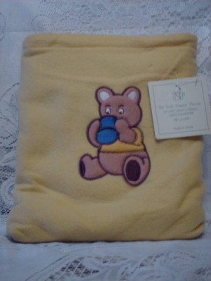Yellow Fleece Baby Blanket with Matching Bag - Bear