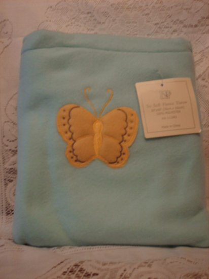 Blue Fleece Baby Blanket with Matching Bag - Butterfly