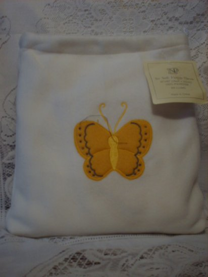 White Fleece Baby Blanket with Matching Bag - Butterfly