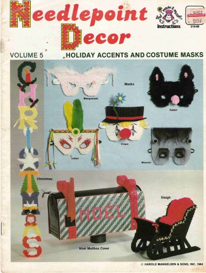 Needlepoint Decor Holiday Accents and Costume Masks #2PC