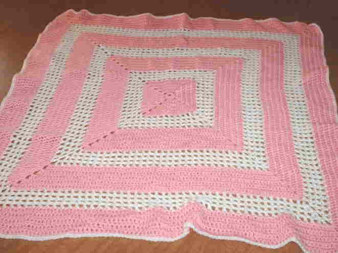 Pink and White Crocheted Baby Afghan