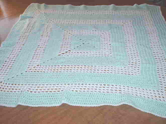 MInt Green and White Crocheted Baby Blanket