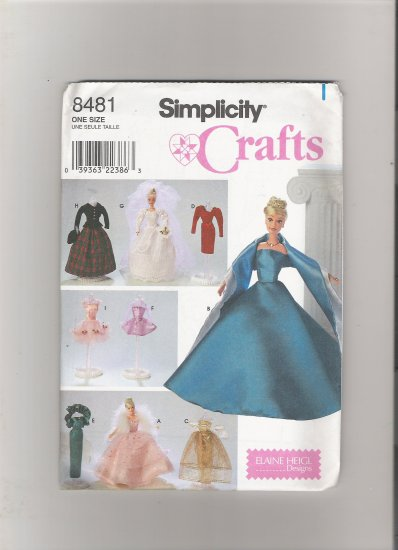 """Simplicity 8481 Clothes for 11 1/2"""" Fashion Doll"""