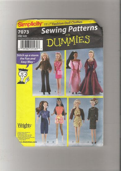 "Simplicity 7073  11 1/2"" Fashion Doll Clothes for Dummies"