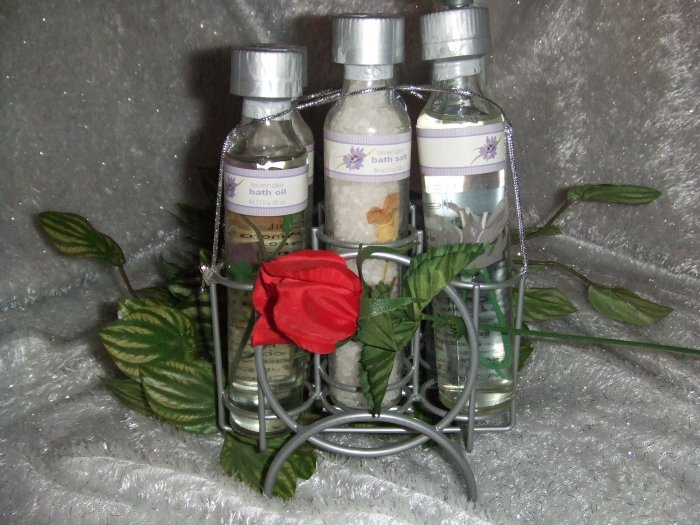 Lavender Bath Products in Wire holder.