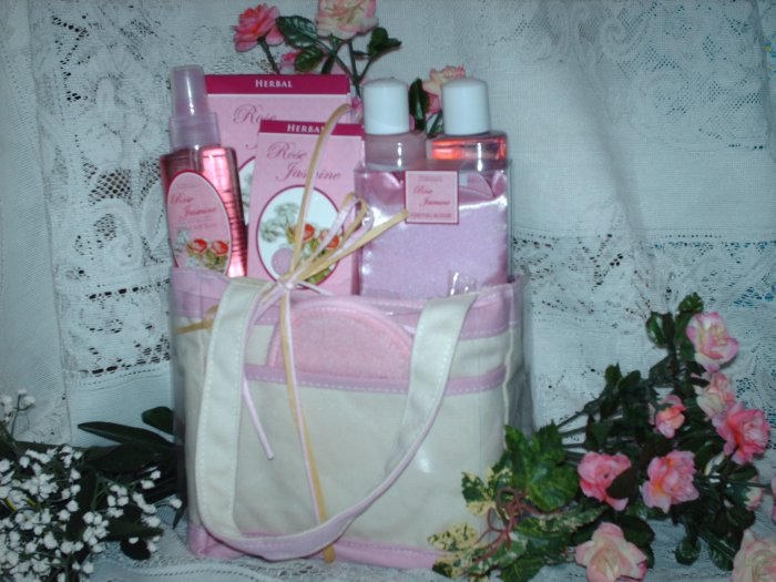 Canvas Gift Bag with Rose Jasmine Scented Bath Products