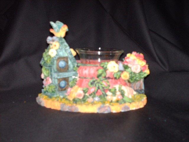 Birdhouse and Garden Motif Votive Holder - NIB