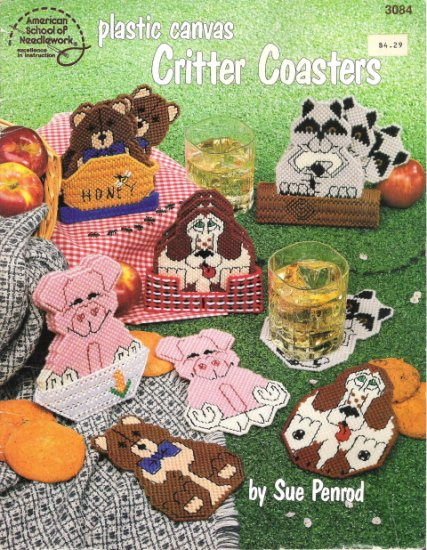 Plastic Canvas Critter Coasters 9 Designs by American School of Needlework #2PCSC