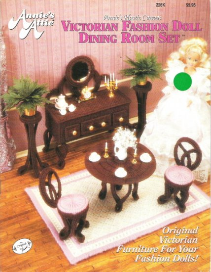 Plastic Canvas Victorian Fashion Doll Dining Room Set Book #2PC