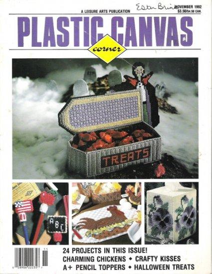 Plastic Canvas Corner a Leisure Arts Publication November 1992 #2PCSC