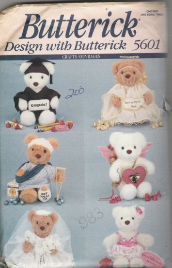 "Butterick 5601  9"" Stuffed Bear in 6 Different Designs"