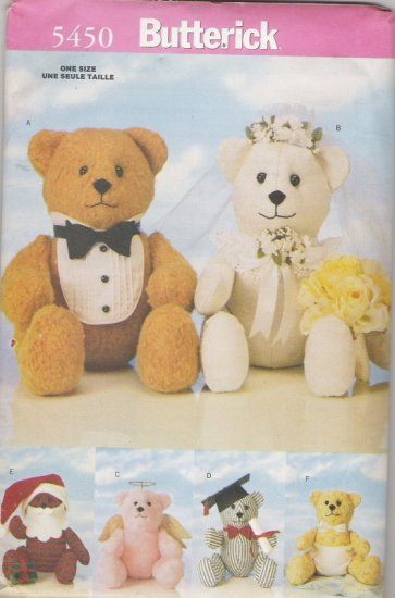 "Butterick 5450  18"" Special Occasion Bears with six sets of non-removable accessories"