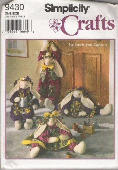 "Simplicity Crafts 9430 by Faith Van Zanten 28"" Bunnies"