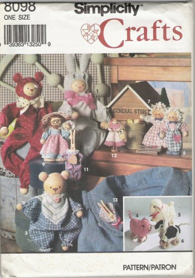 Simplicity Crafts 8098 Angel Spool Ornaments, Bunnies, and Teddys 15 Different Projects