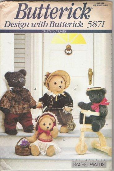 "Butterick 5871 Rachel Wallis Family Bears 11"" and 15"""