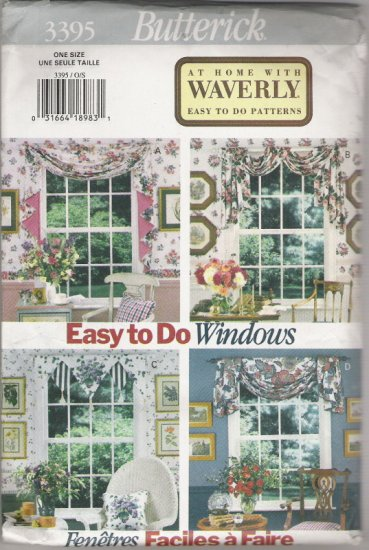 Butterick 3395 At Home With Waverly Easy to do Patterns for Window Scarves
