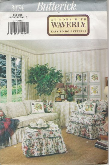 Butterick 3174 At Home With Waverly Easy to do Patterns Slipcovers