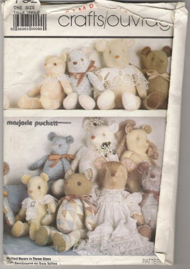 """Simplicity Crafts 7826 Bears in 3 Sizes 18 1/2"""",22"""",24"""""""