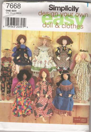 "Simplicity Crafts 7668 EasyDesign Your Own Doll and Clothes 28"" Doll"