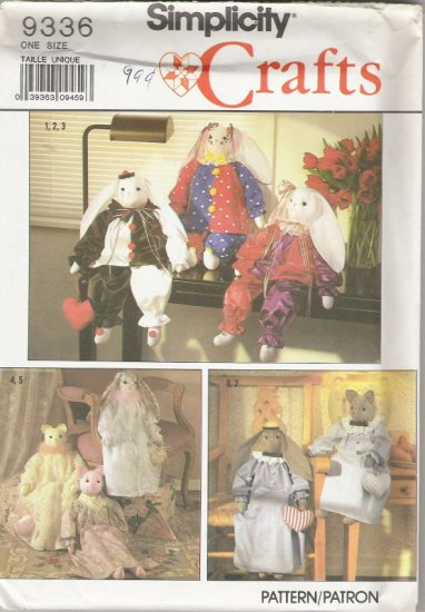 """Simplicity Crafts 9336 Decorative Stuffed 24"""" Bunny and Cat and Clothes"""
