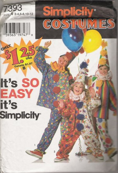 Simplicity Costumes 7393 Childrens' Sizes 2-4,6-8,10-12