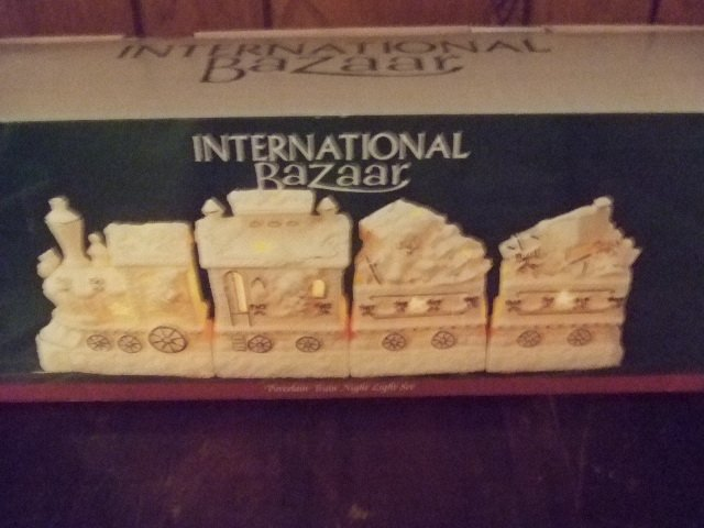 International Bazaar 4 Piece Porcelain Train Night Light Set
