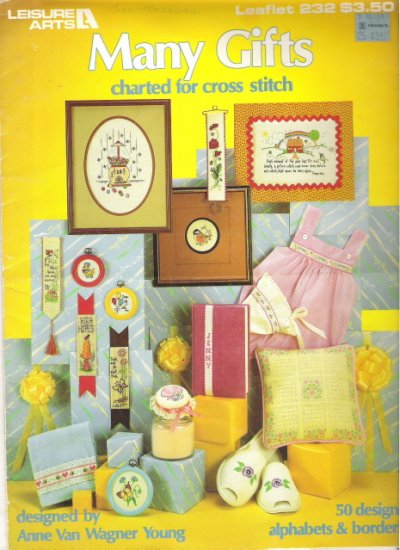 Leisure Arts Leaflet 232 Many Gifts Charted for Cross Stitch