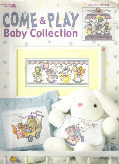 Leisure Arts Come & Play Baby Collection Cross Stitch Book
