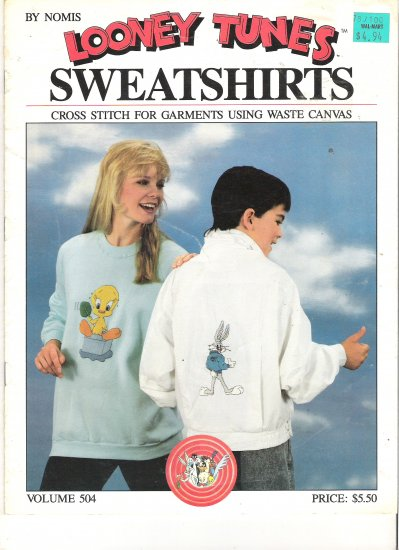 Looney Tunes Sweatshirts Cross Stitch for Garments using Waste Canvas