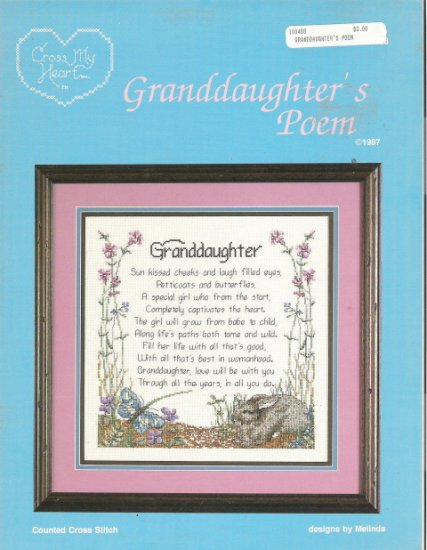 Cross My Heart Granddaughter's Poem Cross Stitch Leaflet