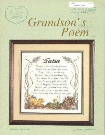 Cross My Heart Grandson's Poem Cross Stitch Leaflet
