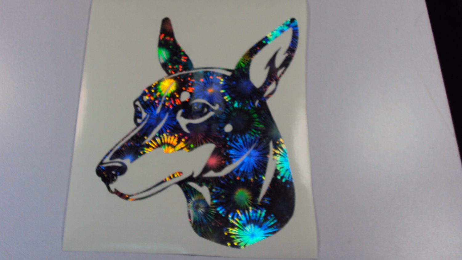 Toy Manchester Terrier Dog Breed Holographic Fireworks Vinyl Car Window Laptop Decal