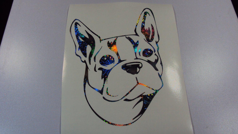 Boston Terrier Dog Breed Holographic Fireworks Vinyl Car Window Laptop Decal
