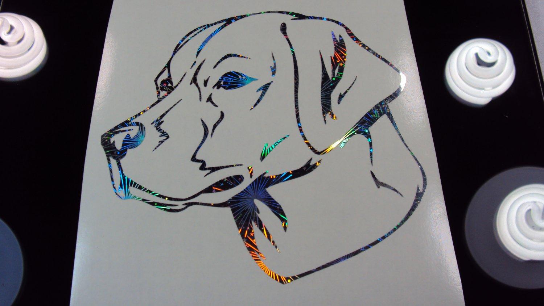 Labrador Retriever Dog Breed Lab Holographic Fireworks Car Window Laptop Decal Sticker