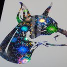 Doberman Pinscher Dog Breed Dobermann Holographic Fireworks Car Window Laptop Decal Sticker
