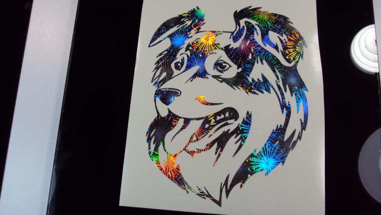 Australian Shepherd Dog Breed Holographic Fireworks Car Window Laptop Decal Sticker