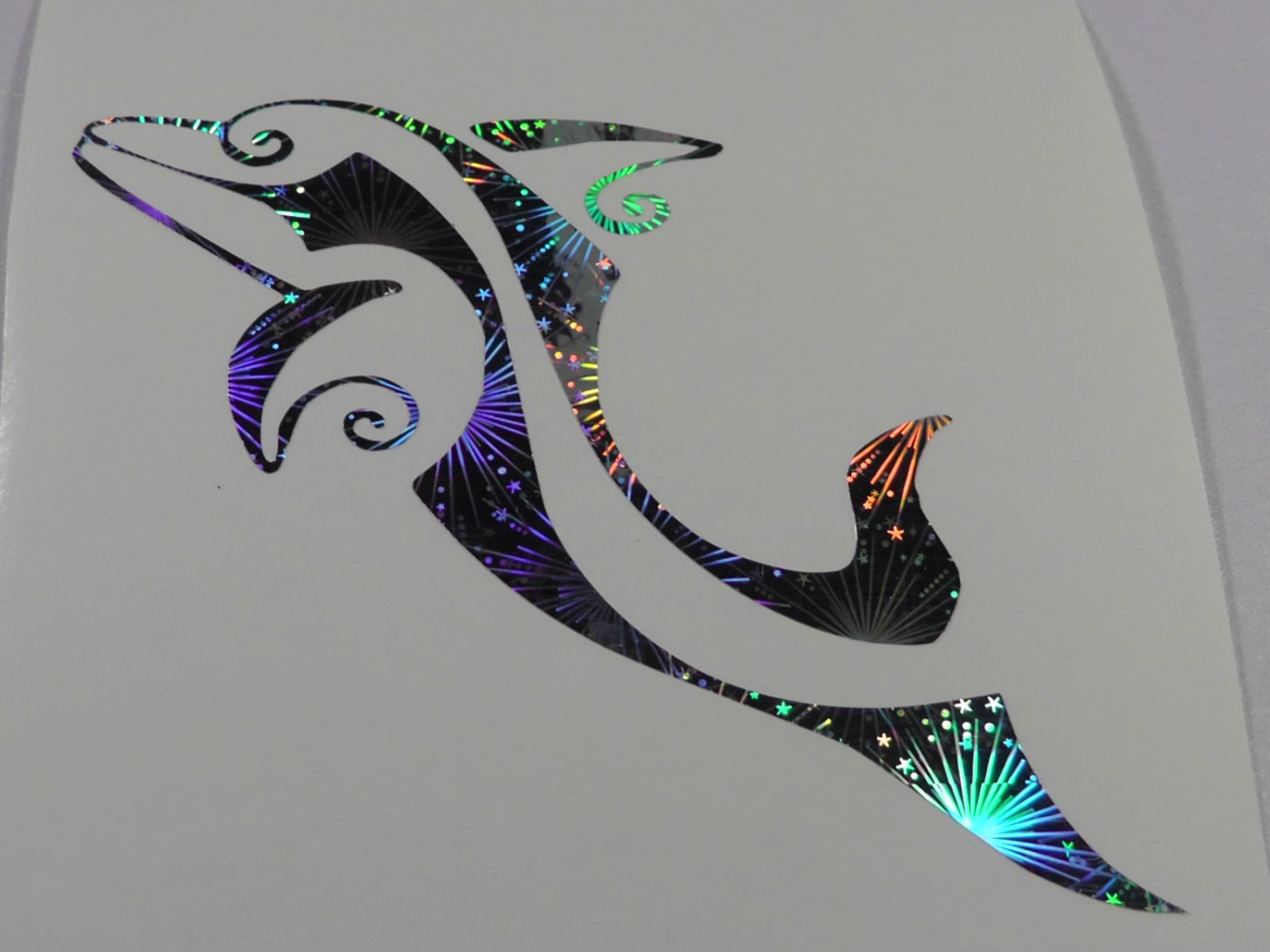 Tribal Dolphin Holographic Fireworks Car Window Laptop Decal Sticker