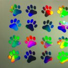 16 1-inch PAW PRINTS Holographic Car Window Decal Sticker CAT TRACKS 5 inch bright