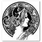 Art deco lady stencil
