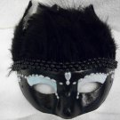 Face mask mardi gras masquerade Costume, Black feather pearl mask