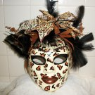 Leopard Feather face mask mardi gras masquerade Costume