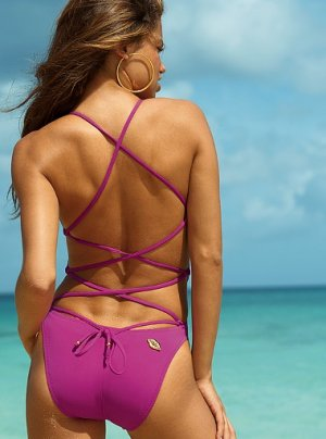 Lace-back one-piece