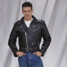 Mens Motorcycle Biker Cowhide Leather Jacket All sizes frot zip XS S M L
