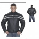 Mens Motorcycle Biker Racer Leather Jacket Silver Line All sizes frot zip XS S M L
