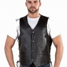 Mens Motorcycle Biker Racer Leather Laces Vest Jacket most sizes available
